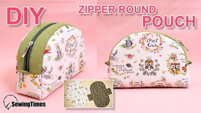 DIY ZIPPER ROUND POUCH BAG 반달 파우치   Makeup Pouch Sewing Tutorial Free Pattern [sewingtimes]