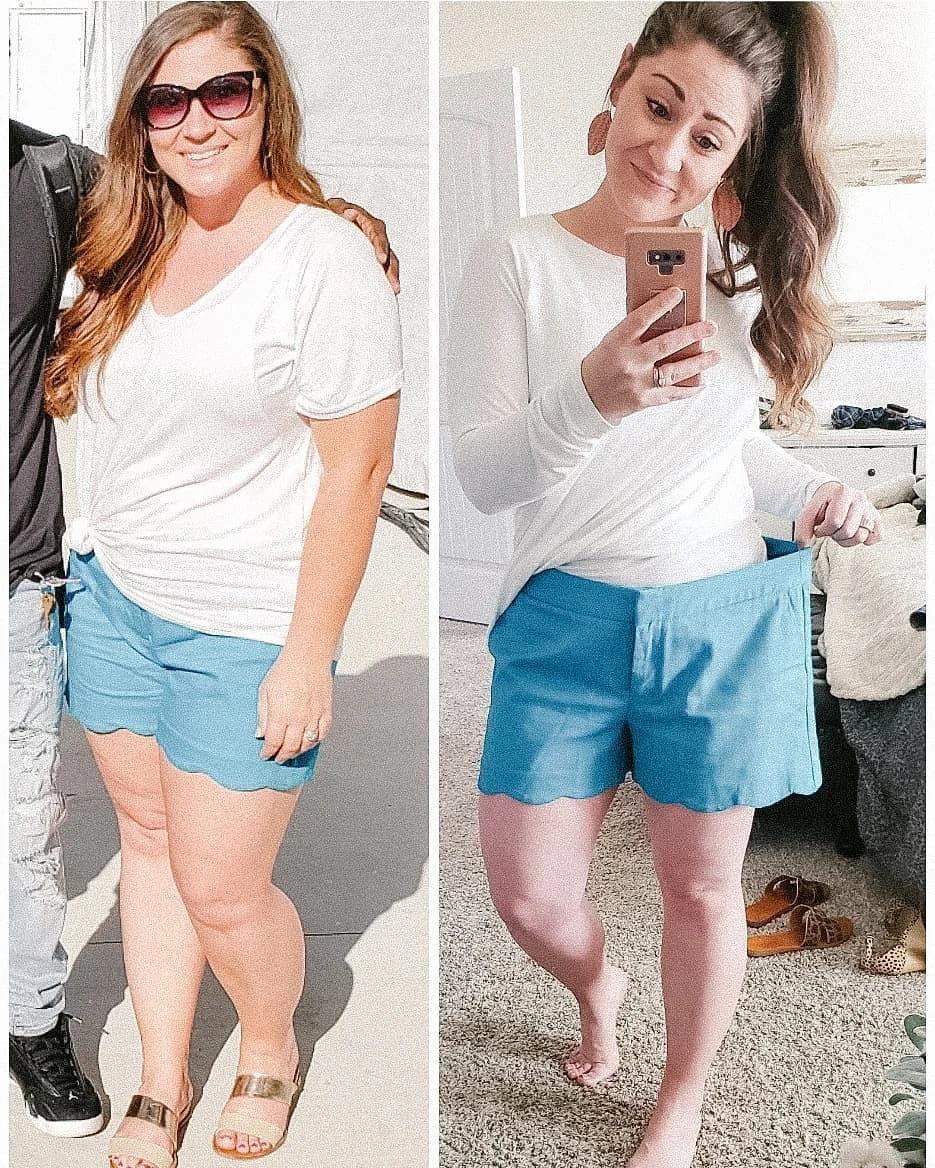 До и после похудения.