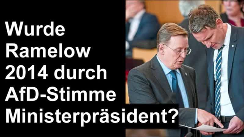 Thüringen Ramelow 2014 durch AfD mitgewählt Hatte mich versprochen Kemmerich ist natürlich FDP