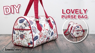 DIY LOVELY PURSE BAG | Barrel Bag Tote Bag Sewing Pattern & Tutorial [sewingtimes]