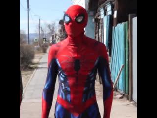 Человек-паук из Бурятии приходит к детям на самоизоляции
