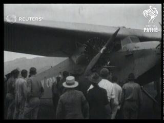 Quartet of US. -Australian atlantic fliers including Captain Kingsford -Smith arrive in  H...(1928)