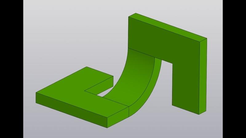 Видеоуроки Компас 3D V18 Изгиб детали Операция по сечениям с осевой линией