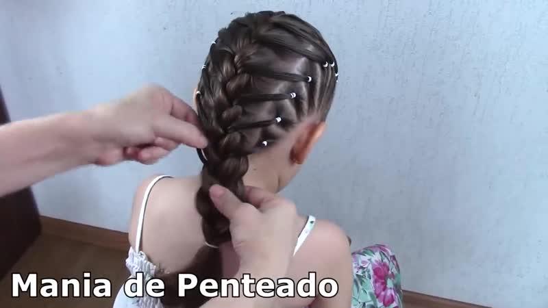 Penteado Infantil com Ligas Laterais e Trança Embutida