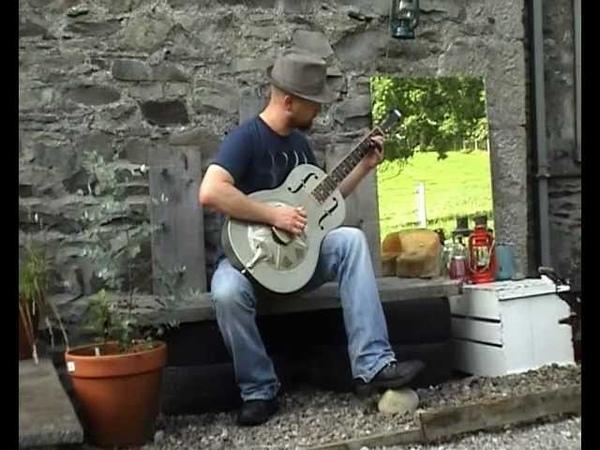 Feelin' Bad Blues Ry Cooder cover Busker Delta Resonator Guitar Blue Diamond Bottleneck