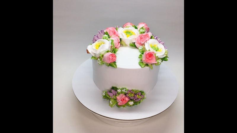 Оформление торта БЗК( цветы из Белкового крема : Розы, Дикий пион, хризантемы )