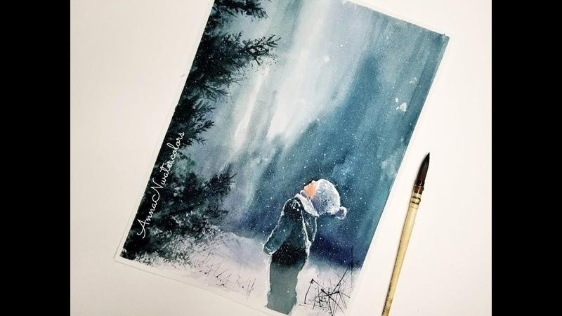 Winter Scenery Little Boy in Watercolor Painting