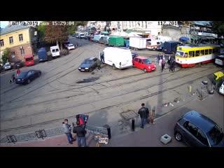 Матиз против трамвая в Одессе
