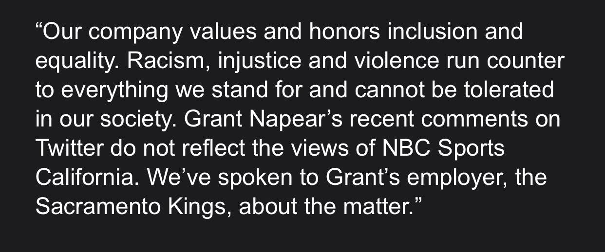 NBC Sports California: «Мы обсудили с «Сакраменто» ситуацию с комментатором Нейпиром»