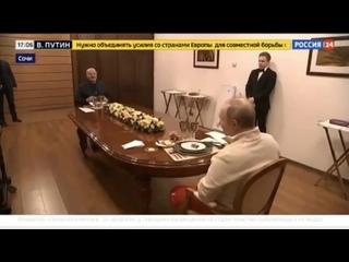 После катания на лыжах Путин и Лукашенко отправились обедать.