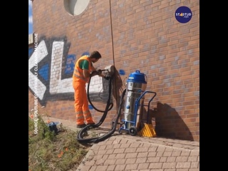 Eco-friendly graffiti removal solution works magically on a variety of surfaces.