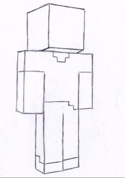 как нарисовать человека из майнкрафта #1