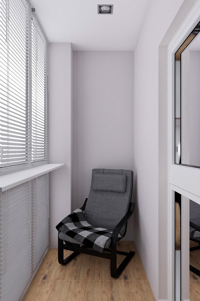 Проект квартиры 41 м с широким проемом из кухни-гостиной в спальню.