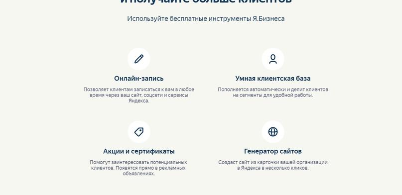 Возможности Яндекс.Бизнеса