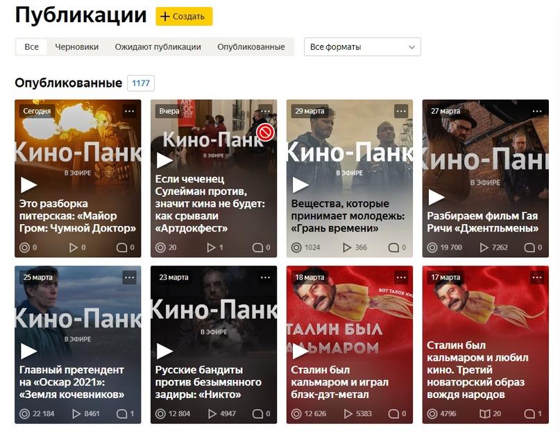 Скриншот редактора канала «Кино-Панк» в «Яндекс.Дзен»