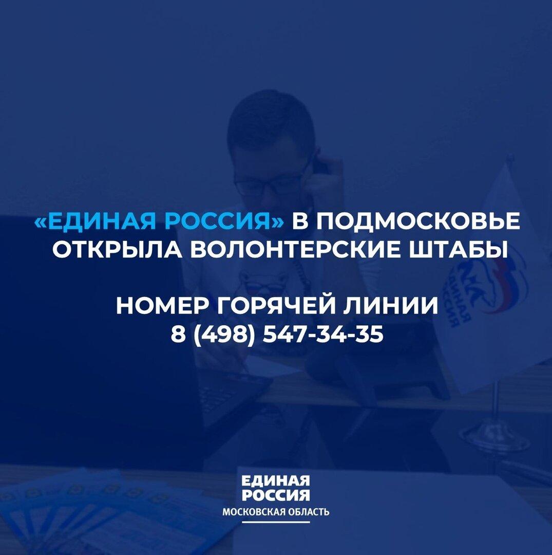 На базе всех местных отделений Партии «Единой России» в Подмосковье заработали волонтёрские штабы.