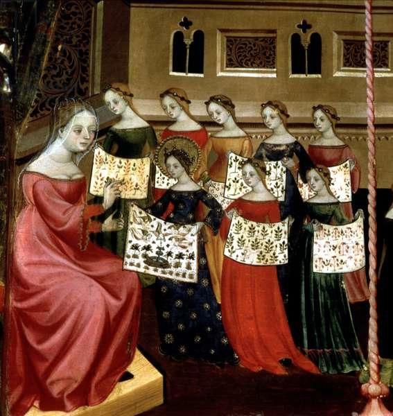 Дева Мария с одноклассницами показывает siuvinėtus samplerius (вышитые учебные работы) наставнице. Её работа явно превосходит работы остальных своей сложностью. (1390-1400). В те времена аристократы отдавали своих детей на обучение какой-нибудь знатной супружеской паре, которая за плату обучала мальчиков военному делу и девочек ведению домашнего хозяйства и рукоделиям в замке. Каталонский живописец Луис Боррасса (1360 — 1426?). Собо́р Свято́го Ма́рка, Венеция.