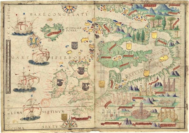 Северная часть Европы.Карта из Атласа Миллера (1519)