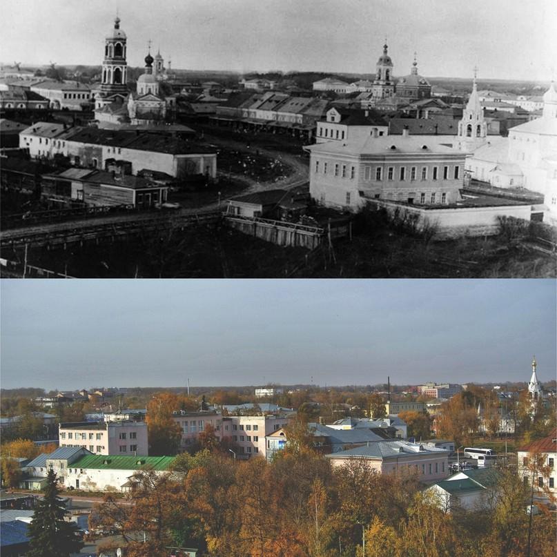 Панорама города в начале улицы Никольской (Первомайской) 1900 г. / 2020г.