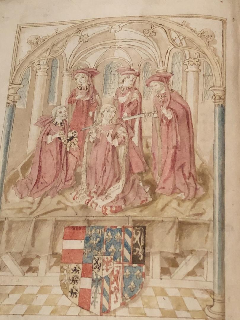 Инаугурация Максимилиана рыцарем Золотого руна из «Превосходных хроник Фландрии» (ок. 1485 г.)