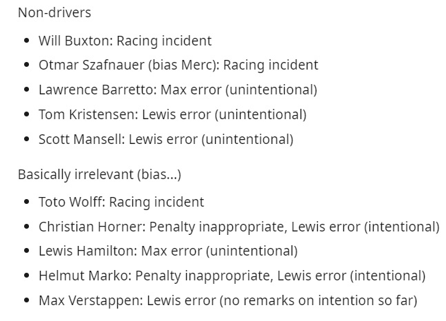 Lewis Hamilton and Max Verstappen crash opinions