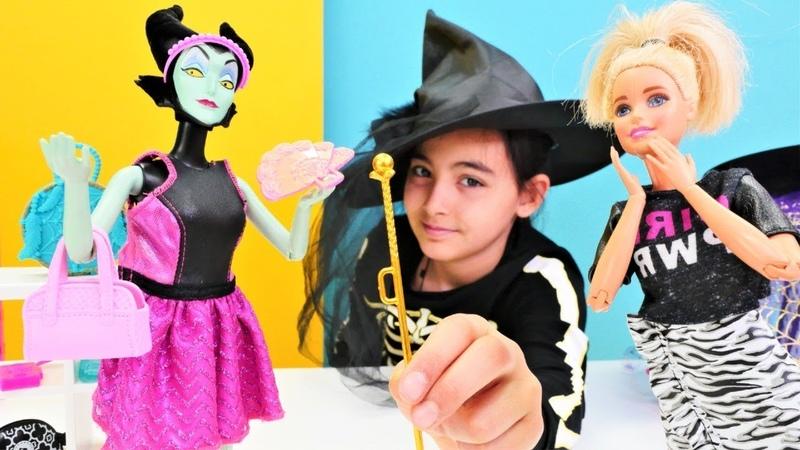Barbie alışverişe gidiyor! Malefiz mağazada ortalığı karıştırıyor! Barbie giyim oyunu