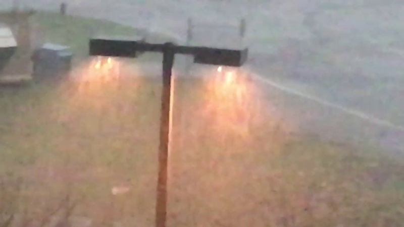 PVD airport Providence Rhode Island Spring thunderstorm wikkid hard rain and wind