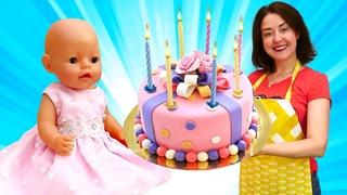 Веселая Школа для малышей. Готовим торт для Беби Бон ( Baby Born Doll) Эмили! Видео сПлейДо