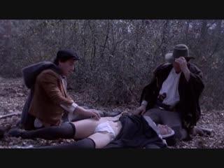 Молодую монашку жестко трахнули в лесу (вырубили и изнасиловали, кончают в пизду по очереди, заставляет сосать хуй)