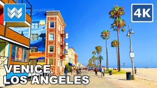 Walking from Venice Beach to Santa Monica Beach in Los Angeles, California 2020 Travel Guide 🎧 【4K】